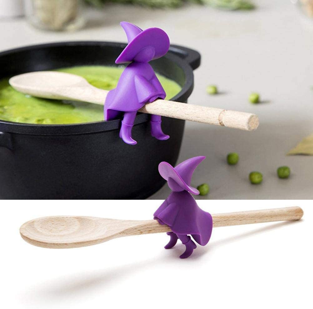 NNGT Witch Steam Releaser,Silicone Kitchen Tools,Silicone Cooking Rests Lid Holder Spoon Rack,Silicone Kitchen Tools Witch Steam Releaser Nontoxic Durable Silicone Cooking Rests Lid Holder Spoon Rack