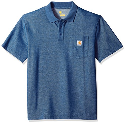 Pocket Shirt Polo Pique - Carhartt Men's Contractors Work Pocket Polo Original Fit K570, Dark Cobalt Blue Heather, X-Large