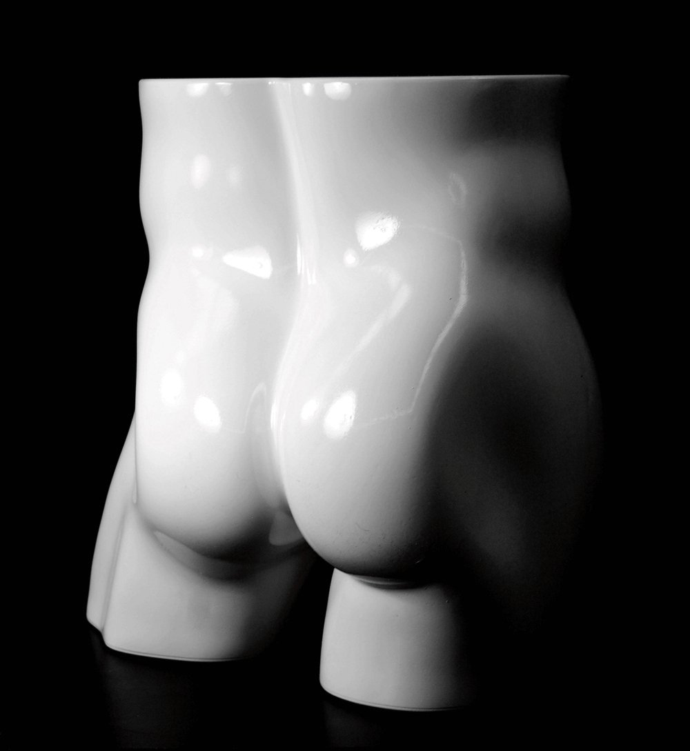 PS-MHIP-W full round plastic mannequin buttocks good for underwear display, ROXY DISPLAY Male White