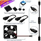 Raspberry Pi 4 Fan, iUniker Raspberry Pi 4 Model B Accessories Kit, with 35mm Cooling Fan, 25mm Heatsink, HDMI Cable, USB-C Switch Cable for Pi 4 B