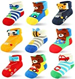 9 Packs Baby Boys Newborn Infant Socks, Ankle Socks Cotton with Grips (9 Pairs, 0-6 Months)
