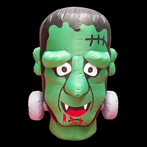 Halloween Inflatable 4' Frankenstein Monster Head with Disco Lights and LED Eyes -