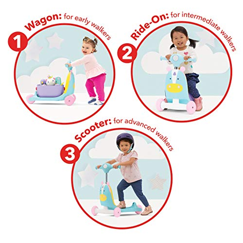 51sQmI6RWxL - Skip Hop Kids 3-in-1 Ride On Scooter and Wagon Toy, Unicorn