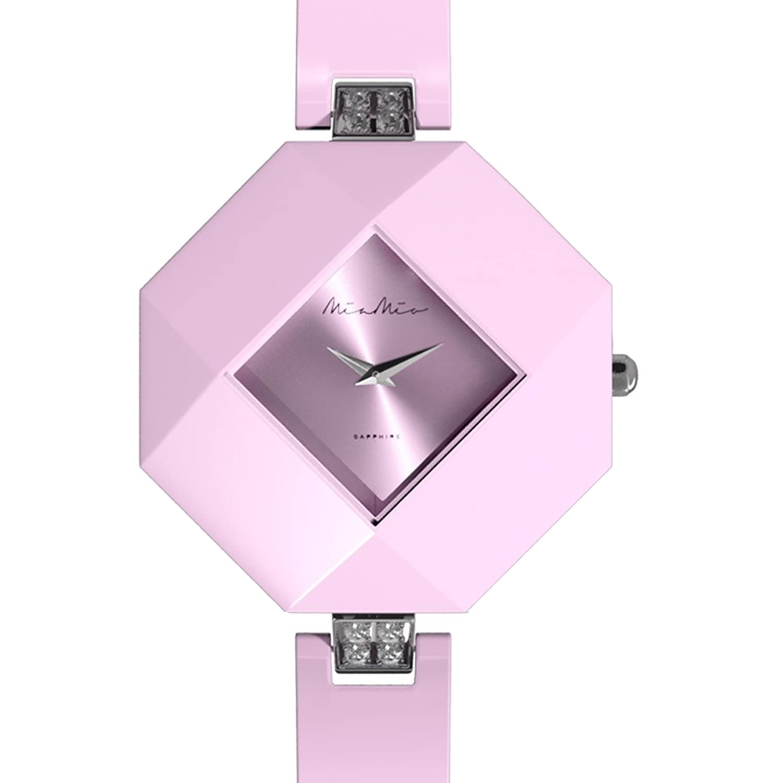 Mia-Mio Keramik Rosa Swiss Quartz Edelstahl Saphir Kristall PRECIOSA Damen Uhr