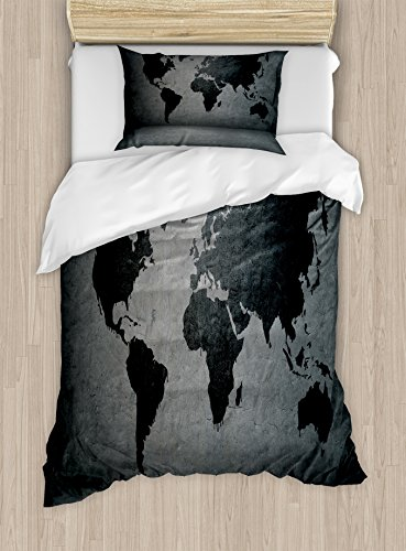 Ambesonne Dark Grey Duvet Cover Set Twin Size, Black Colored World Map on Concrete Wall Image Urban Structure Grungy Rough Look, Decorative 2 Piece Bedding Set with 1 Pillow Sham, Grey Black Black Friday & Cyber Monday 2018