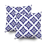 ROOLAYS Decorative Throw Square Pillow Case Cover 16X16Inch,Cotton Cushion Covers ceramic pattern motif style porcelai Both Sides Printing Invisible Zipper Home Sofa Decor Sets 2 PCS Pillowcase