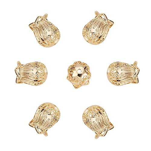 - NBEADS 20PCS Brass Flower Cup Shaped Bead Caps/Cones Beads End Caps for Jewelry Making - Real Gold-Filled