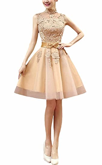 Fanhao Womens High Neck Floral Lace Short Evening Gown Bridesmaid Dress ,Gold,L