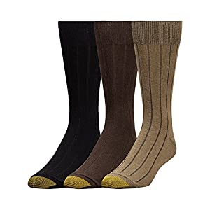 Gold Toe Men's Hampton 3 Pack Socks, Olive/Brown/Black, Sock Size: 10-13/Shoe Size:9-11