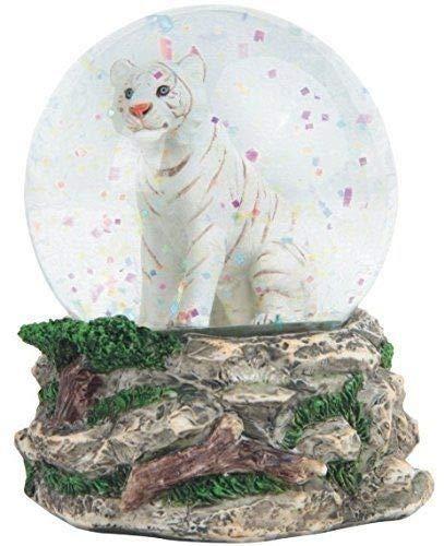 Figurine Wildlife Safari White Tiger Cub Snowglobe Water Globe Sculpture ()