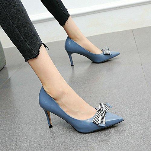 pelle moda fiocco bene bocca scarpe moda in appuntito donne bassa sexy Le temperamento vanno alti tacchi dolce con A YMFIE w7vtUq4
