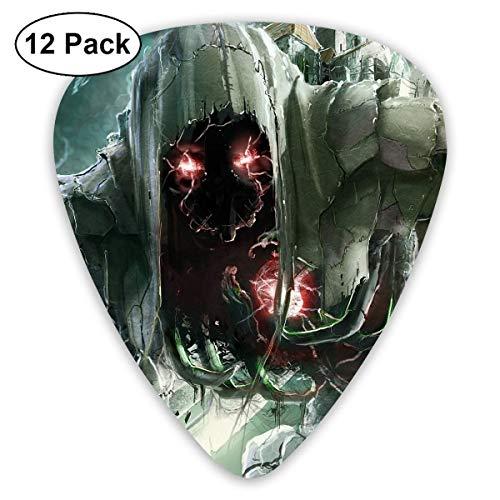 Custom Guitar Picks, Hallowen Scary Skull Alien Red Eye Guitar Pick,Jewelry Gift For Guitar Lover,12 -