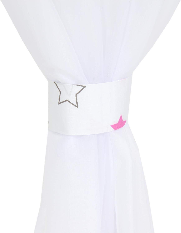 TupTam Conjunto de Cortinas para Habitaci/ón Infantil 140 x 245 cm c Cinta Fruncidora Estrellas Rosa//Blanco 2 pzs
