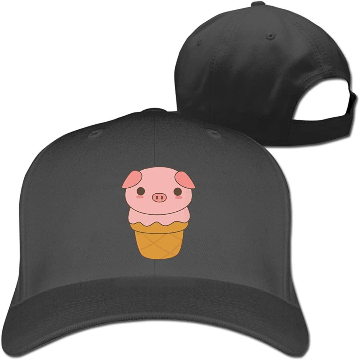 Cute Ice Cream Pig Classic Adjustable Cotton Baseball Caps Trucker Driver Hat Outdoor Cap Fitted Hats Dad Hat Black
