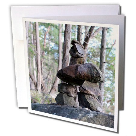 3dRose Danita Delimont - Canada - Canada, British Columbia, Wallace Island. Inukshuk - 12 Greeting Cards with envelopes - Wallace Canada