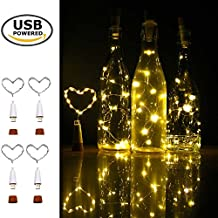 Wine Bottle Cork Lights, iMazer Rechargeable USB Powered Cork Copper Wire String Starry LED Light for DIY,Party,Home Decor,Christmas,Wedding or Mood Lights Water Bottle Lights (Warm White 4 Pack)
