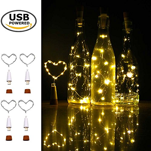 iMazer Wine Bottle Cork Lights, Rechargeable USB Powered Copper Wire String Starry LED Light for DIY,Party,Home Decor,Christmas,Wedding or Mood Lights Wine Bottle Decorations (Warm White 4 - Twist Cork
