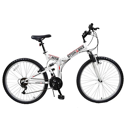 Stowabike 26' MTB V2 Folding Dual Suspension 18 Speed Shimano Gears Mountain Bike White