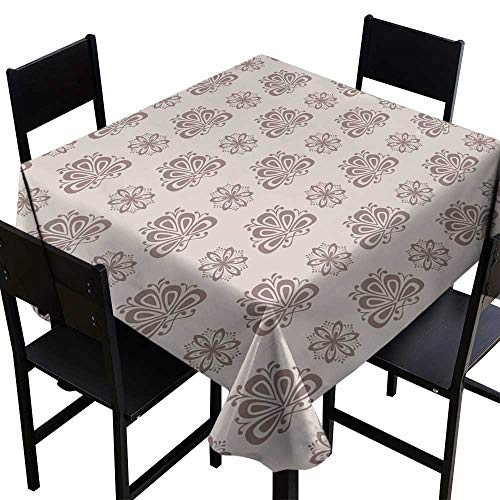 Warm Family Oil-Proof and Leak-Proof Tablecloth Seamless Pattern with Flower Element Brown and Beige Abstract Wallpaper Indoor Outdoor Camping Picnic W54 x L54 ()