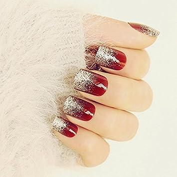 lzndeal 24pcs Faux ongles Gel Acrylique, Faux bouts d\u0027ongles acrylique,  faux ongles french , High,Gloss brillant rouge vin argent , faux ongles Gel