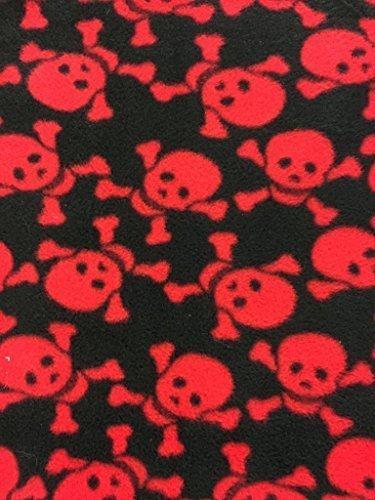 5 metres 500cm x 150cm Quality Printed Anti Pil Polar Fleece Fabric Material  Black RED Skull
