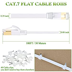 Cat 7 ethernet cable 100 ft, Wireless Outdoor Networking Patch cable with clips,Supports Cat6/Cat6a/Cat5 with Gold Plated RJ45 Connectors for Gaming,MAC,Desktop,ADSL,LAN-White