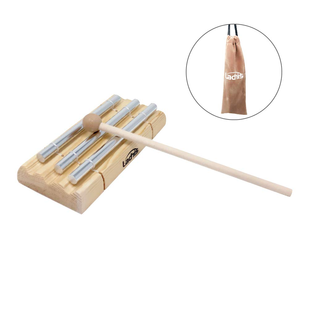Ladnis Trio Energy Chime with Wooden Mallet For Meditation,Eastern Energies, Yoga, Percussion Musical Chime for Children, Teachers' Classroom Bell by Ladnis