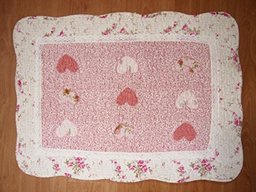 Valentine Day Heart Lace Patchwork Quilted Cotton Bedroom Bath Floor Mat Rug (England Rug Floor)