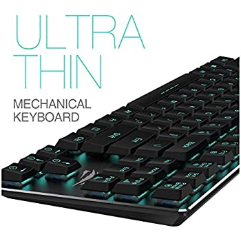 Mechanical Keyboard HAVIT Backlit Wired Gaming Keyboard Extra-Thin & Light, Kailh Latest Low Profile Blue Switches, 87 Keys N-key Rollover HV-KB390L (Black)