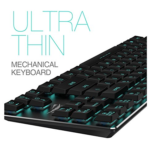 Mechanical Keyboard HAVIT Backlit Wired Gaming Keyboard Extra-Thin & Light, Kailh Latest Low Profile Blue Switches, 87 Keys N-key Rollover HV-KB390L (Black) by Havit