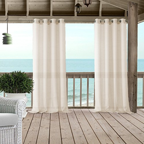 Bali Sheer Indoor/Outdoor Grommet Top Single Panel Window Curtain Drape/Curtain Patio, Gazebo and Pergola Panel Includes 1 tieback, 52 Inch Wide X 84 Inch Long, Ivory