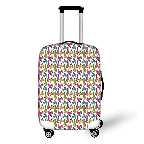Travel Luggage Cover Suitcase Protector,Teen Room Decor,Retro Colorful Roller Skates in Vivid Tones Girls Sports Hobby Illustration,Multicolor,for TravelS 19x27.5Inch