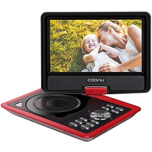 "COOAU 11.5"" Portable DVD Player with 9.5"" Swivel Screen, 5 Hour Rechargeable Battery, Support USB/SD Card, Direct Play in Formats AVI/RMVB/MP3/JPEG, Red"