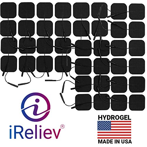 iReliev Premium Reusable TENS EMS Muscle Stimulation Electrode Pads with Excellent Dispersion, 10 Packs of 4 Pads. (40 total electrode pads)