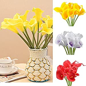 10x Artificial Calla Lily Flowers for Wedding Bridal Bouquet Home Decorations Indoors Outdoors 8