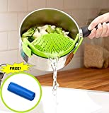 SNAP n STRAIN Pan Strainer, BONUS FREE Garlic Peeler! Clip-on Silicone Strainer, Pasta Strainer for Draining Excess Liquid, No More Large Clunky Colanders, Universal Size Fits Most Pans (1, Green)