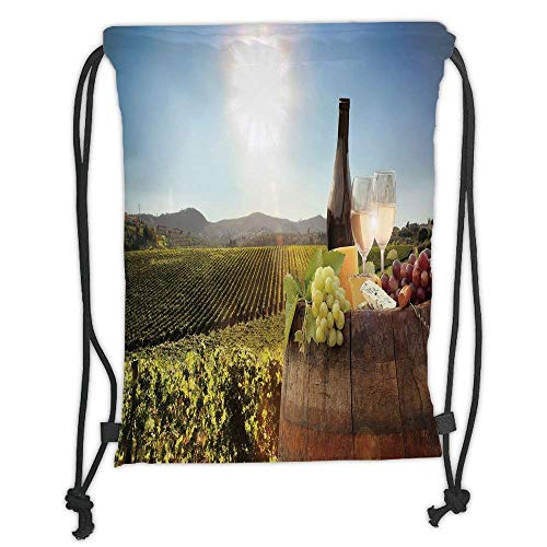 (Custom Printed Drawstring Backpacks Bags,Wine,White Wine with Barrel on Famous Vineyard in Chianti Tuscany Agriculture Decorative,Green Brown Light Blue Soft Satin,5 Liter Capacity,Adjustable)