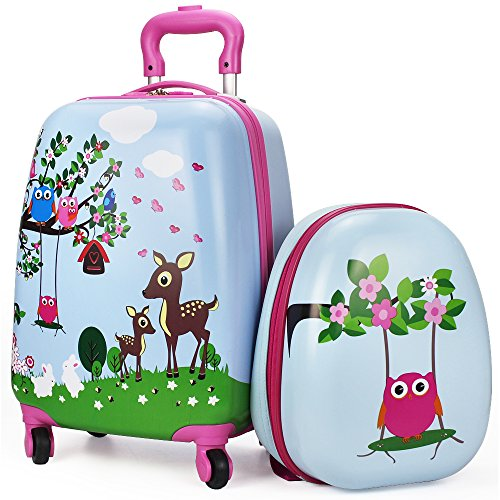 Luggage Set, Lightweight, Suitcase, Hard Shell Backpack, School Bag, Travel Gift Little Kids, Boy, Girl - iPlay, iLearn (Luggage School)