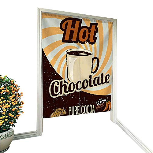 QianHe Japanese Style Noren Door CurtainOld Hot Chocolate Commercial from The Past in Funky Shaded Color with Pure Tapestry Cotton Linen Curtain Blind 33.5