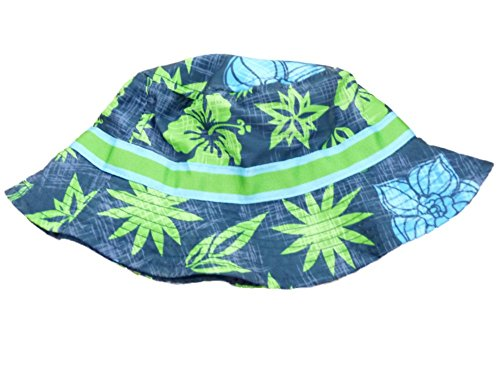 ABG Toddler Boys Blue Floral Floppy Sun Hat Hawaiian Print Bucket Cap (Hawaiian Print Sun Hat)