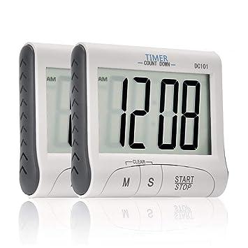 Ingleby Mini Portable Gran pantalla LCD Digital reloj alarma para cocinar cocina temporizador deporte stopwatches magnético con soporte - incluye pilas: ...