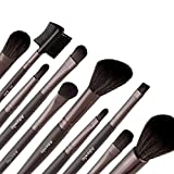 Allewie Makeup Brushes Set 10Pcs Cosmetic Brush Kit Wooden Handle With A Black Bag