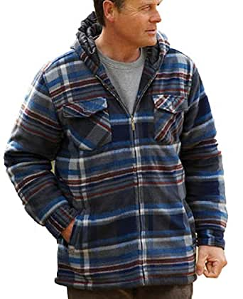 Champion Men's Dundee Fleece Sherpa Lined Hooded Winter Shirt (2XL) Blue