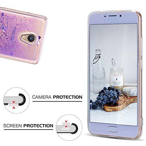 Funda Meizu M5 Note, Caselover 3D Bling Silicona TPU Arena Movediza Carcasa para Meizu M5 Note Glitter Líquido Brillar Lentejuelas Suave Transparente Cristal Protección Caso Anti Arañazos Tapa Choque  Púrpura