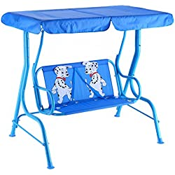 Kids Patio Swing Chair Children Porch Bench Canopy 2 Person Yard Furniture Blue