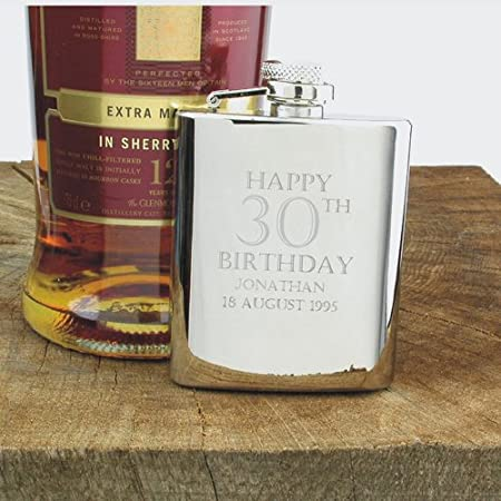 Stainless Steel Engraved Hip Flask with Solid Pewter Happy Birthday Feature Mens 30th Birthday Gift Mens Birthday Gifts