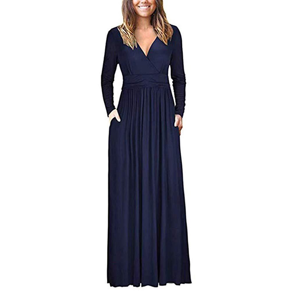 JESPER Women's V Neck Loose Swing Long Sleeve Casual Floor Length Maxi Long Dresse Navy Blue