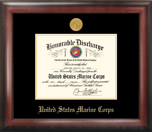 Marine Corp Discharge Gold Embossed Frame by Patriot