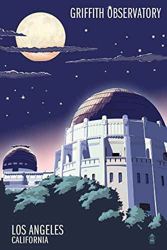 Los Angeles, California - Griffith Observatory at Night (9x12 Art Print, Wall Decor Travel ()
