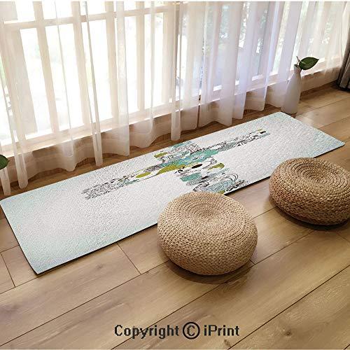 (Custom Long mat,Cross Made from Flowers Blessing Blossom Newborn Catholic Party Illustration Seafoam Avocado Green,18